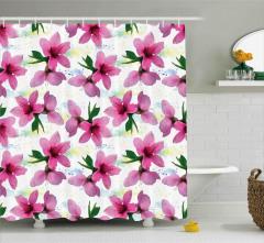 Pembe Kiraz Çiçeği Desenli Duş Perdesi Çeyizlik Şık