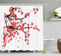 Kırmızı Kiraz Çiçekleri Desenli Duş Perdesi Trend