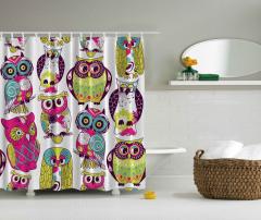 Rengarenk Baykuş Desenli Duş Perdesi Yeşil Trend
