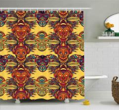 Etnik Aztek Desenli Duş Perdesi Dekoratif Trend