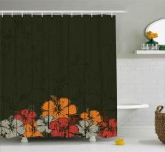 Amber Çiçeği Buketi Desenli Duş Perdesi Kahverengi