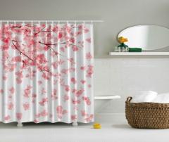 Kiraz Çiçekleri Desenli Duş Perdesi Pembe Beyaz Şık