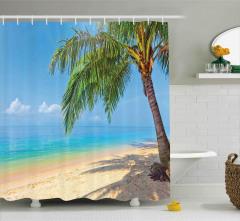 Kumsaldaki Hindistan Cevizi Ağacı Duş Perdesi Deniz