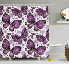 Mor Çiçekli Kelebek Desenli Duş Perdesi Dekoratif