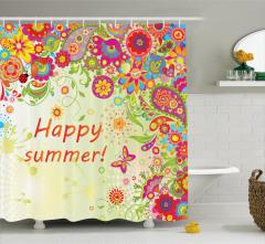 Gökkuşağı Çiçek ve Kelebek Duş Perdesi Şal Desenli