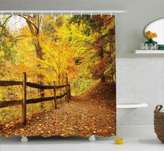 Ormanda Sonbahar Duş Perdesi Ağaç Yaprak Doğa Şık