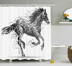 Dört Nala Koşan At Duş Perdesi Siyah Dekoratif Şık