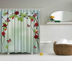 Gül ve Yaprak Desenli Duş Perdesi Yeşil Kırmızı Şık