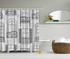 Pencere Temalı Duş Perdesi Siyah Beyaz Şık Tasarım