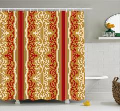 Çiçekli Duvar Kağıdı Desenli Duş Perdesi Kahverengi