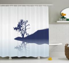 Nehir Kıyısındaki Yalnız Ağaç Duş Perdesi Dekoratif