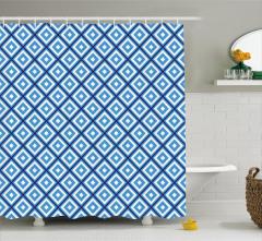 Mavi Beyaz Geometrik Desenli Duş Perdesi Dekoratif
