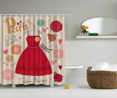 Kırmızı Elbise Desenli Duş Perdesi Şık Tasarım Çiçek