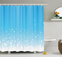 Yıldız Işınları Desenli Duş Perdesi Mavi Beyaz