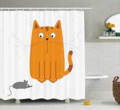 Sevimli Kedi ve Fare Duş Perdesi Dekoratif Trend
