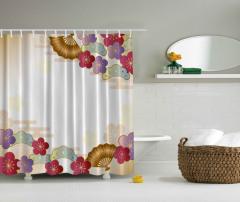 Çiçek Desenli Duş Perdesi Bej Şık Tasarım Bordo