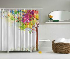 Rengarenk Ağaç Desenli Duş Perdesi Kelebek Trend