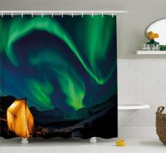 Yeşil Kuzey Işıkları Manzarası Duş Perdesi Gökyüzü