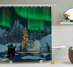 Penguenler ve Kuzey Işıkları Duş Perdesi Gökyüzü