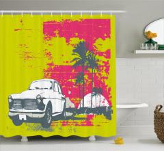 Nostaljik Araba ve Palmiyeler Duş Perdesi Dekoratif