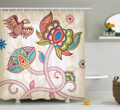 Dekoratif Çiçek ve Kuş Duş Perdesi Şal Desenli