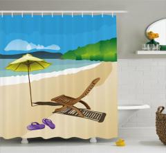 Kumsaldaki Şezlong Desenli Duş Perdesi Deniz Gökyüzü