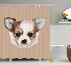 Sevimli Köpek Portresi Duş Perdesi Kahverengi