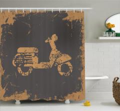 Nostaljik Motosiklet Desenli Duş Perdesi Siyah Şık