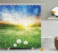 Kır Çiçekli Masalsı Manzara Duş Perdesi Gökyüzü