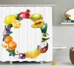 Meyvelerden Çember Desenli Duş Perdesi Natürmort