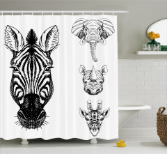 Savanadan Hayvan Başları Duş Perdesi Afrika