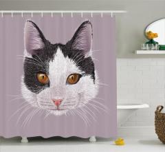 Siyah Beyaz Kedi Portreli Duş Perdesi Dekoratif