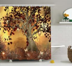 Ağaç ve Yaprak Desenli Duş Perdesi Kahverengi Sarı