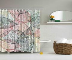 Yaprak ve Çiçek Desenli Duş Perdesi Şık Tasarım