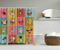 Baykuş Desenli Duş Perdesi Rengarenk Şık Tasarım