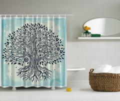 Ağaç Desenli Duş Perdesi Mavi Siyah Şık Tasarım