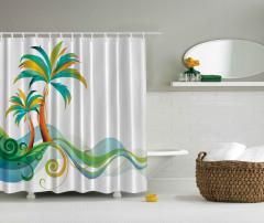 Palmiye ve Deniz Temalı Duş Perdesi Yeşil Mavi Beyaz
