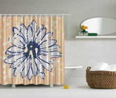 Çiçek Desenli Duş Perdesi Lacivert Sarı Beyaz Şık