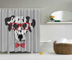 Gözlüklü Köpek Desenli Duş Perdesi Siyah Kırmızı Gri