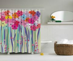 Rengarenk Çiçek Desenli Duş Perdesi Şık Çeyizlik
