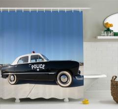 Nostaljik Polis Arabası Duş Perdesi Siyah Beyaz