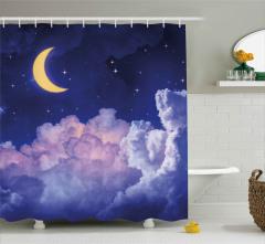 Aydede Bulutların Ardında Duş Perdesi Gece Gökyüzü