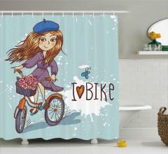 Bisiklete Binen Şapkalı Kız Duş Perdesi Çiçekler