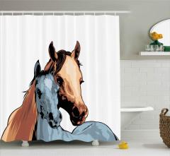 Anne At ve Tayı Duş Perdesi Dekoratif