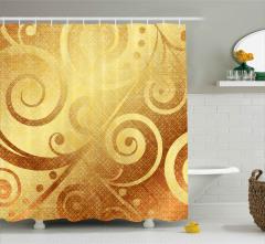 Altın Spiral Desenli Duş Perdesi Dekoratif