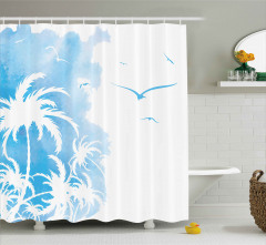 Mavi Palmiyeler ve Kuşlar Duş Perdesi Şık
