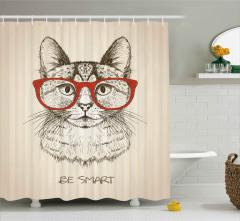 Kırmızı Gözlüklü Kedi Desenli Duş Perdesi Zeki Ol