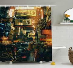 Şehir Trafiği ve Kalabalık Duş Perdesi Modern