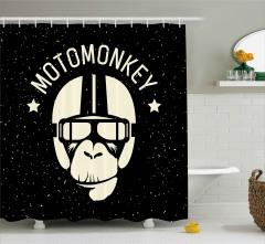Motorcu Maymun Desenli Duş Perdesi Siyah Beyaz
