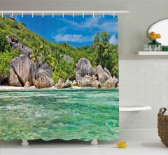 Tropik Kayalık Sahil Duş Perdesi Dekoratif